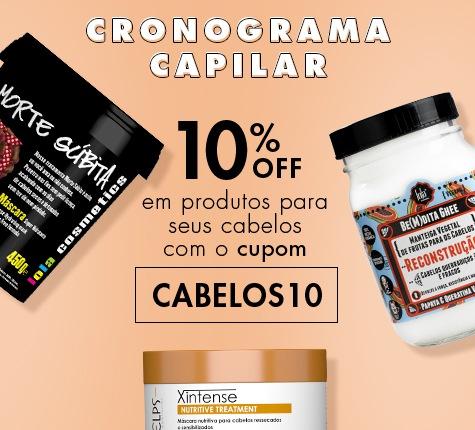 10% OFF em produtos capilares com o código