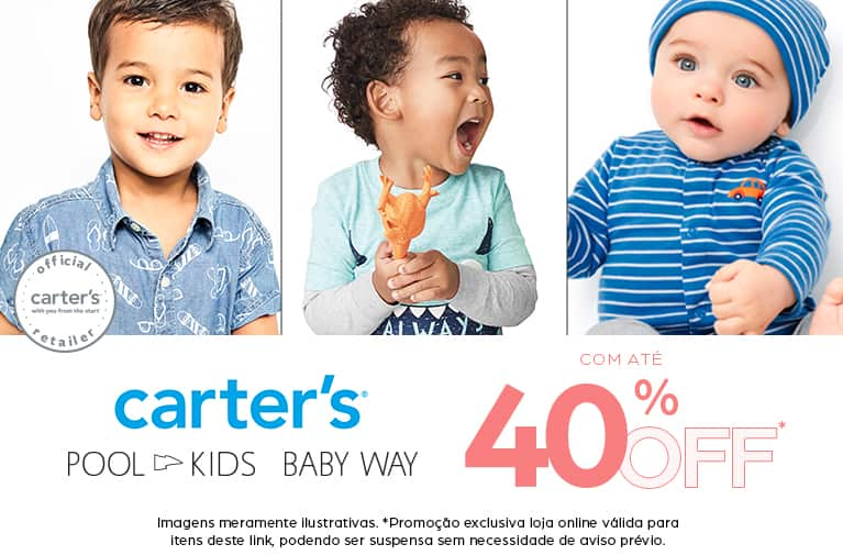 descontos de Carters, Babyway e Pool Kids